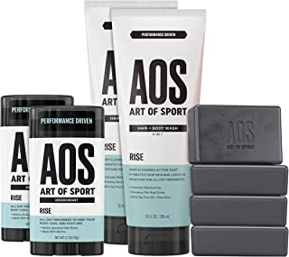 Art of Sport Athlete Collection, Rise Scent, 8pc Skin and Body Care Set with Aluminum-Free Deodorant, Body Wash, and Body Bar Soap