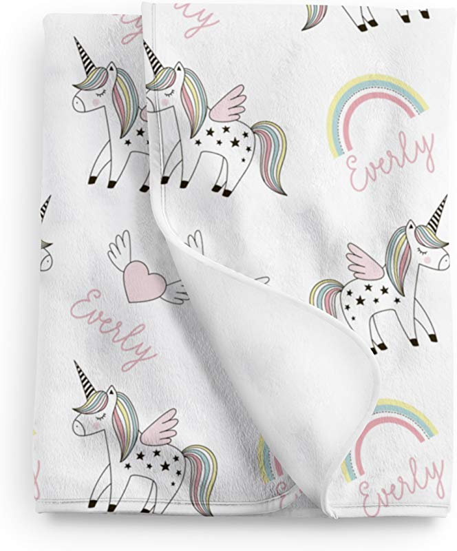 Personalized Unicorn Rainbow Fleece Baby Blanket Unicorn Nursery D Cor