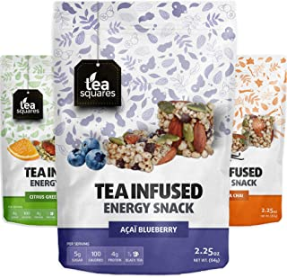 Caffeinated Energy Bites (Variety Pack of 3) - 100cal, 4g plant-protein, 3-4g sugar, Focus and Energy - Organic Tea - Gluten Free - Caffeinated - Vegan - Snack and Protein Bites - Tea Squares