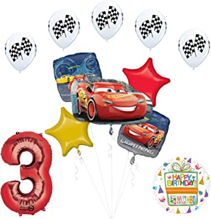 Disney Cars 3 Lightning McQueen 3rd Birthday Party Supplies and Balloon Decorations