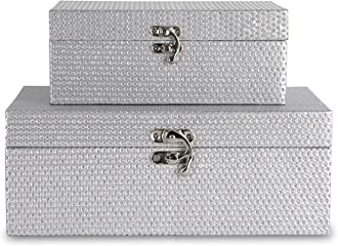 MODE HOME Silvery Glitter Wooden Jewelry Storage Boxes Decorative Treasure Boxes Set of 2