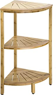 Dream Palace Natural Bamboo Three Tier Corner Shelf Storage (15.75 x 15.75 x 30 in) for Shower, Kitchen, Hall, Freestanding Shelving