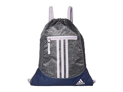 adidas Alliance II Sackpack (Jersey Onix/Purple Tint/Tech Indigo/Blue) Backpack Bags