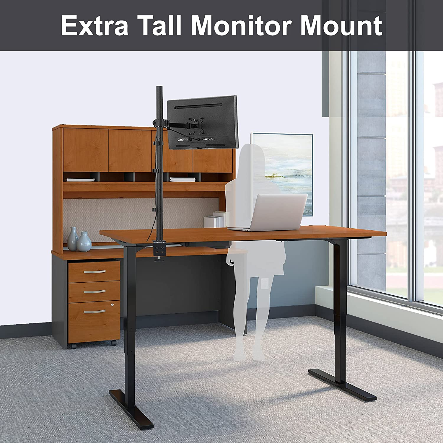 FORGING MOUNT Extra Tall Single Monitor Arm Stand Desk Mount with 39.5 inch Stand-up Pole, Fully Adjustable Stand with C Clamp/Grommet Mounting Base Fits 13-32 Inch Computer Screen, Holds up to 22lbs