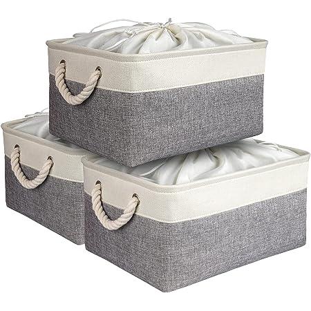 AivaToba Boîte de Rangement avec Cordons Fermés, Grand Panier de Rangement Pliable 3 Pièces avec Poignées, Organisateur de Maison pour Jouets, Vêtements, Produits de Bureau.