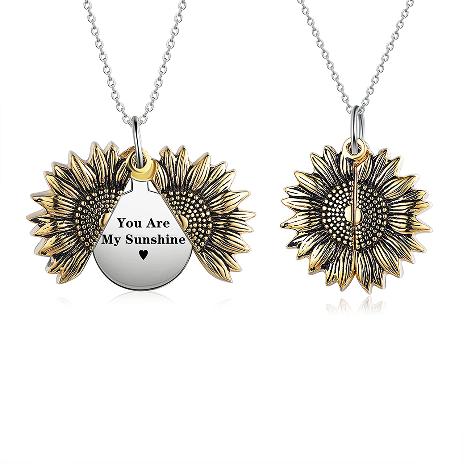 Personalized Sunflower Necklace for Women Girls Custom You are My Sunshine Necklace Sunflower Locket Jewelry Pendant with Name Personalized Necklace