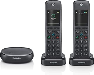 Motorola AXH02 Smart Wireless Home Phone System with Alexa Built-in and Speaker Phone – 2 Cordless Phone Handsets Included