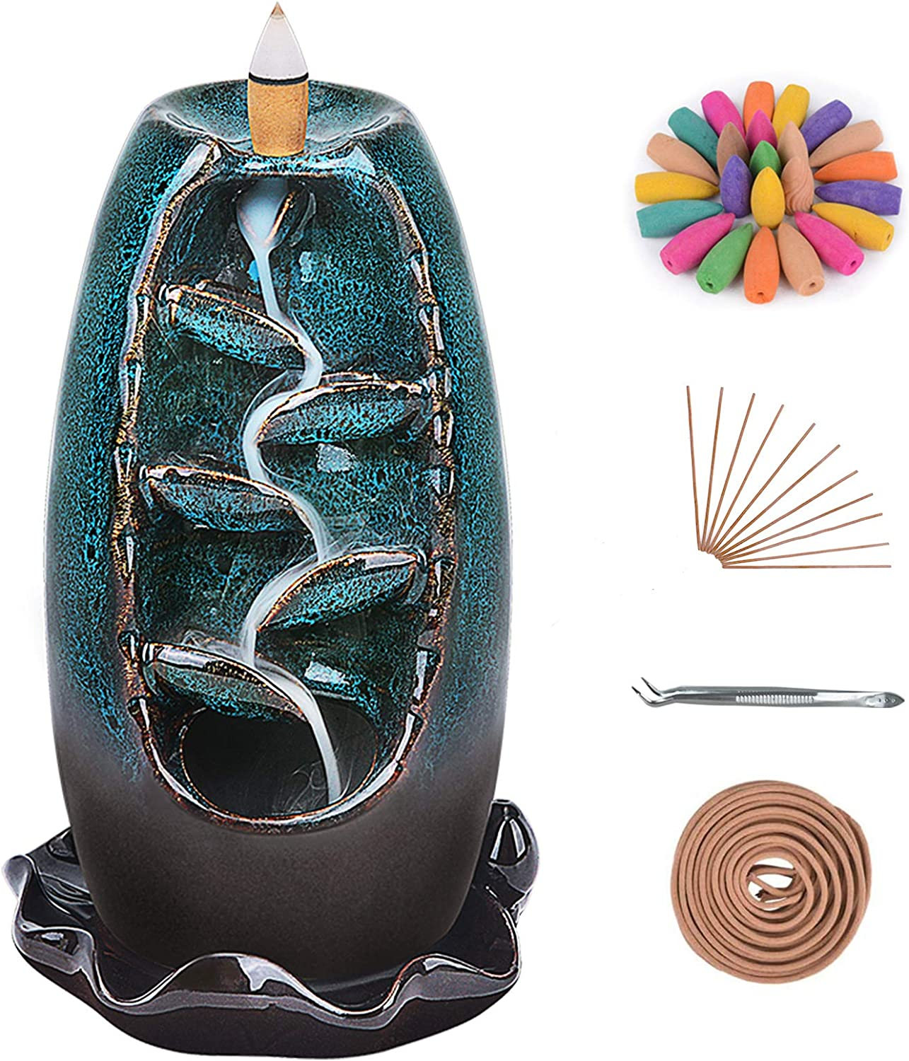 Ronlap Backflow Incense Burner, 5 in 1 Ceramic Waterfall Smoke Incense Holder with 120 Upgraded Incense Cones+30 Incense Sticks+10 Coil Incense, for Aromatherapy Meditation Home Decorations, Blue