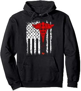 Patriot Apparel Nurse Thin Red Line American Flag Pullover Hoodie