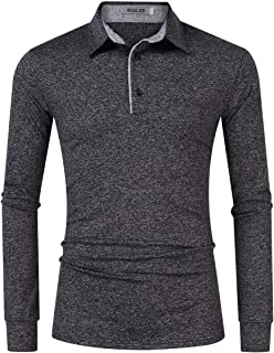 Casual Dry Fit Golf Polo Shirts for Men Slim Fit Short Sleeve Stripe Collar Athletic T Shirt