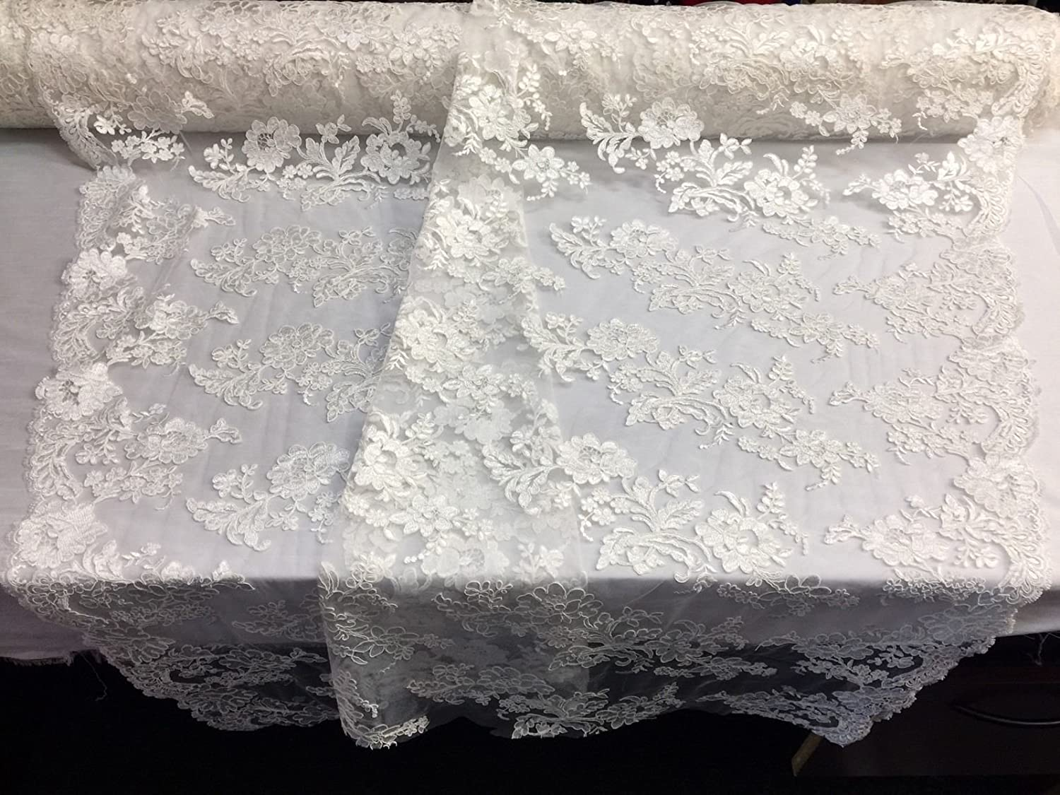 Embroidered Lace Fabric Ivory - Flower Weddin Mesh 5 popular cheap Bridal Corded