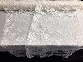 Embroidered Lace fabric Ivory - Flower Corded Mesh Bridal Wedding Dress By The Yard