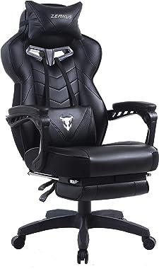 Zeanus Chaise Gaming pour Adultes, Chaise de Jeu avec Repose-Pieds, Fauteuil Gamer avec Massage, Inclinable Chaise Gaming, Ha