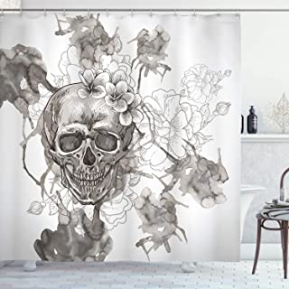 Ambesonne Day of The Dead Shower Curtain, Painting Skull Flowers Dia de Los Muertos Designed Print, Cloth Fabric Bathroom Decor Set with Hooks, 70