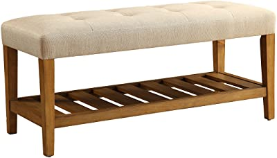 ACME Furniture 96682 Charla Bench, Beige & Oak, One Size