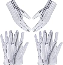 2 Sets Halloween Cosplay Accessory Set Includes 2 Pairs Sequin Gloves Glitter Gloves 2 Pairs Stirrup Socks for Cosplay Halloween Party Favors Silver