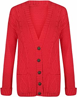 Women Sleeveless Button Cable Knitted Grandad Cardigan Ladies Winter Sweater