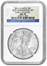 2011 S Silver American Eagle MS-70 NGC (ER, 25th Anniv) 1 OZ MS-70 NGC