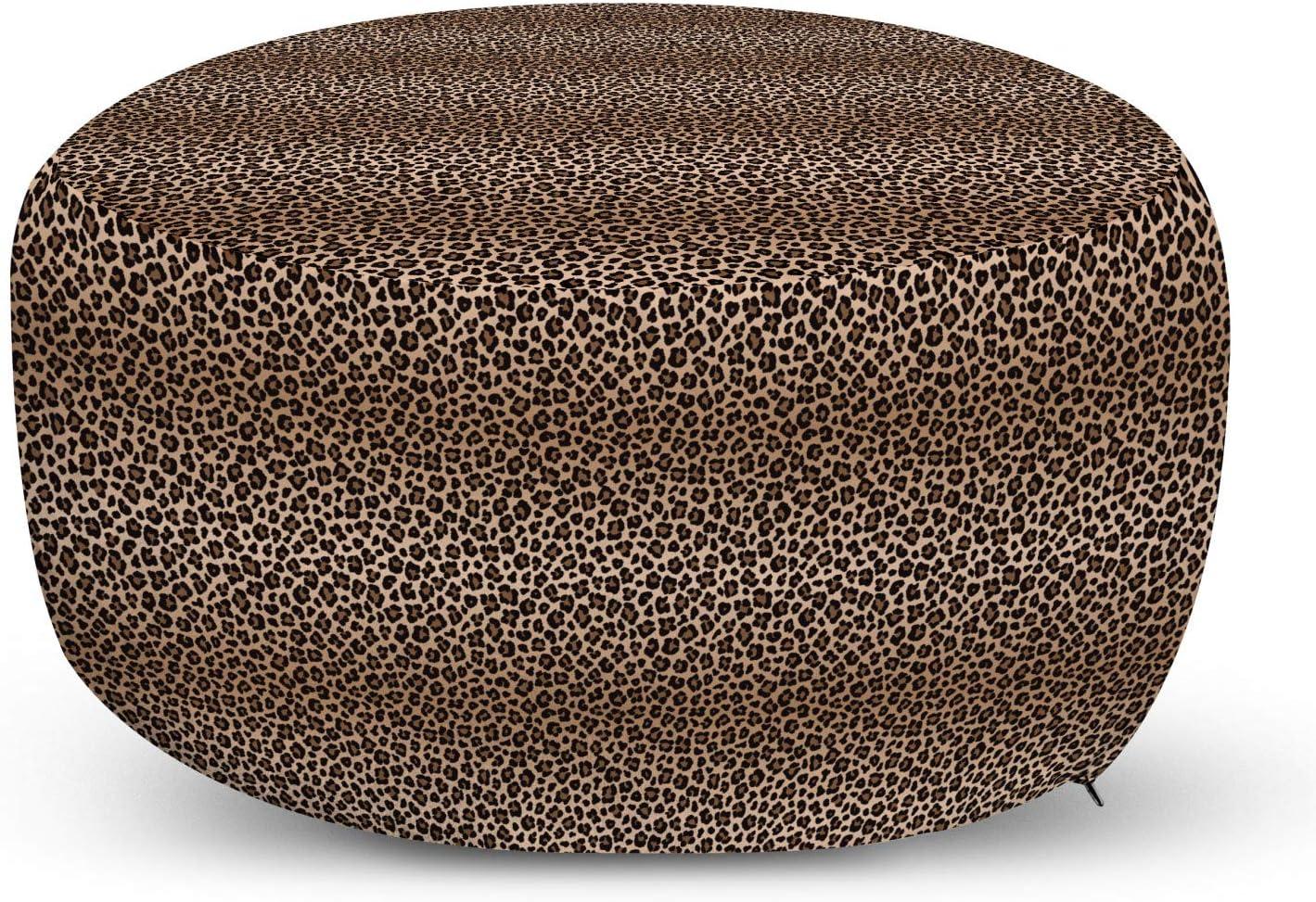 Lunarable Yellow Ombre Ottoman Pouf Tucson Mall Spots Insp Popular product Skin Leopard Fur
