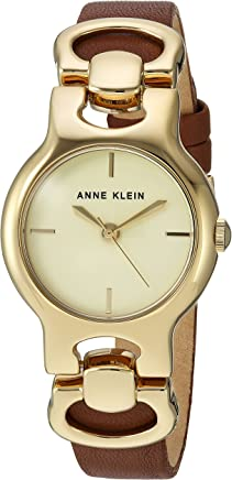 Anne Klein Women's  Gold-Tone and Brown Leather Strap Watch