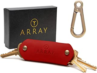 Leather Key Holder by ARRAY Design | Key Organizer Keychain with Brass Carabiner for up to 10 Keys for men and women