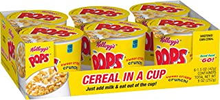 Kellogg's Corn Pops,Breakfast Cereal in a Cup,Bulk Size, 12 Count (Pack of 2, 9 oz Trays)