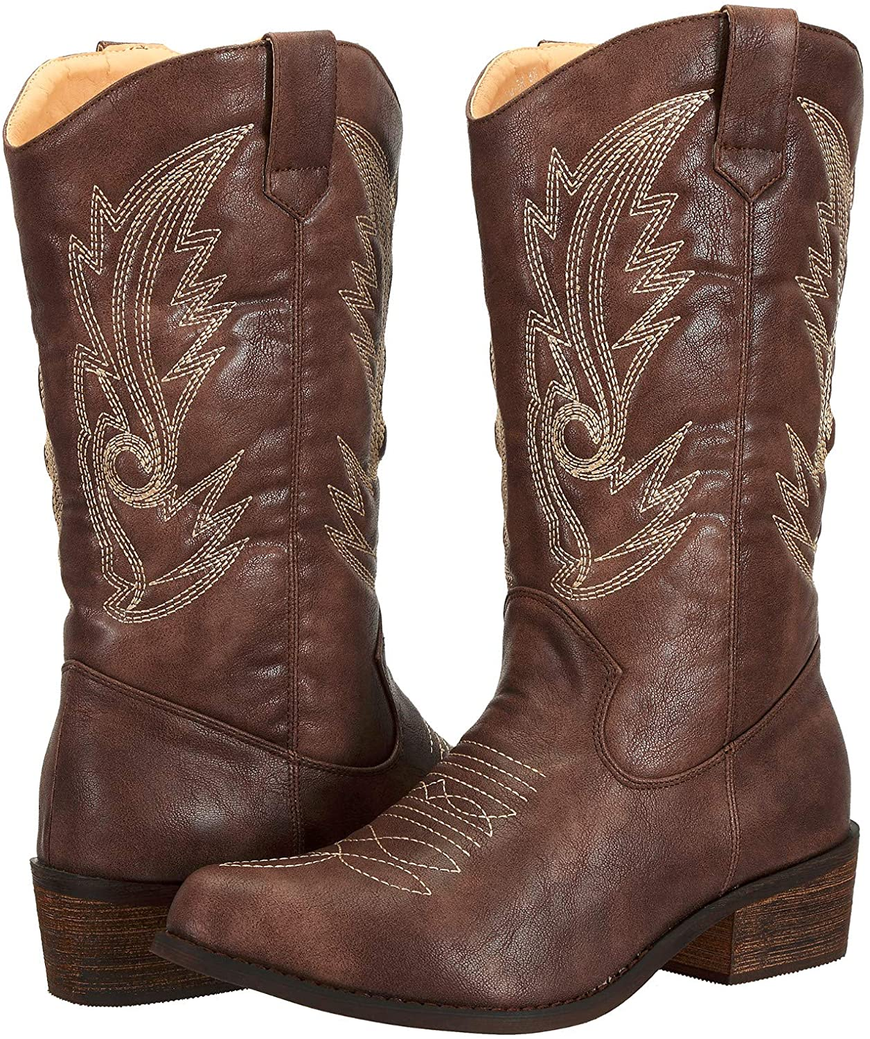 Ladies Cowgirl Cowboy Boots for Women Pointed Toe Pu Leather Western Shoes