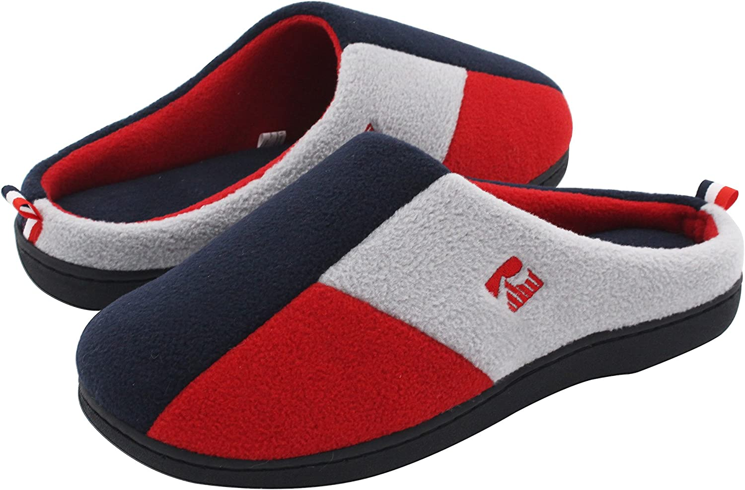 RockDove Women's Tri-color Memory Foam Slippers Winter Warm bluee Red Grey color Blocking Slip On Indoor Clogs for Home & Lounging