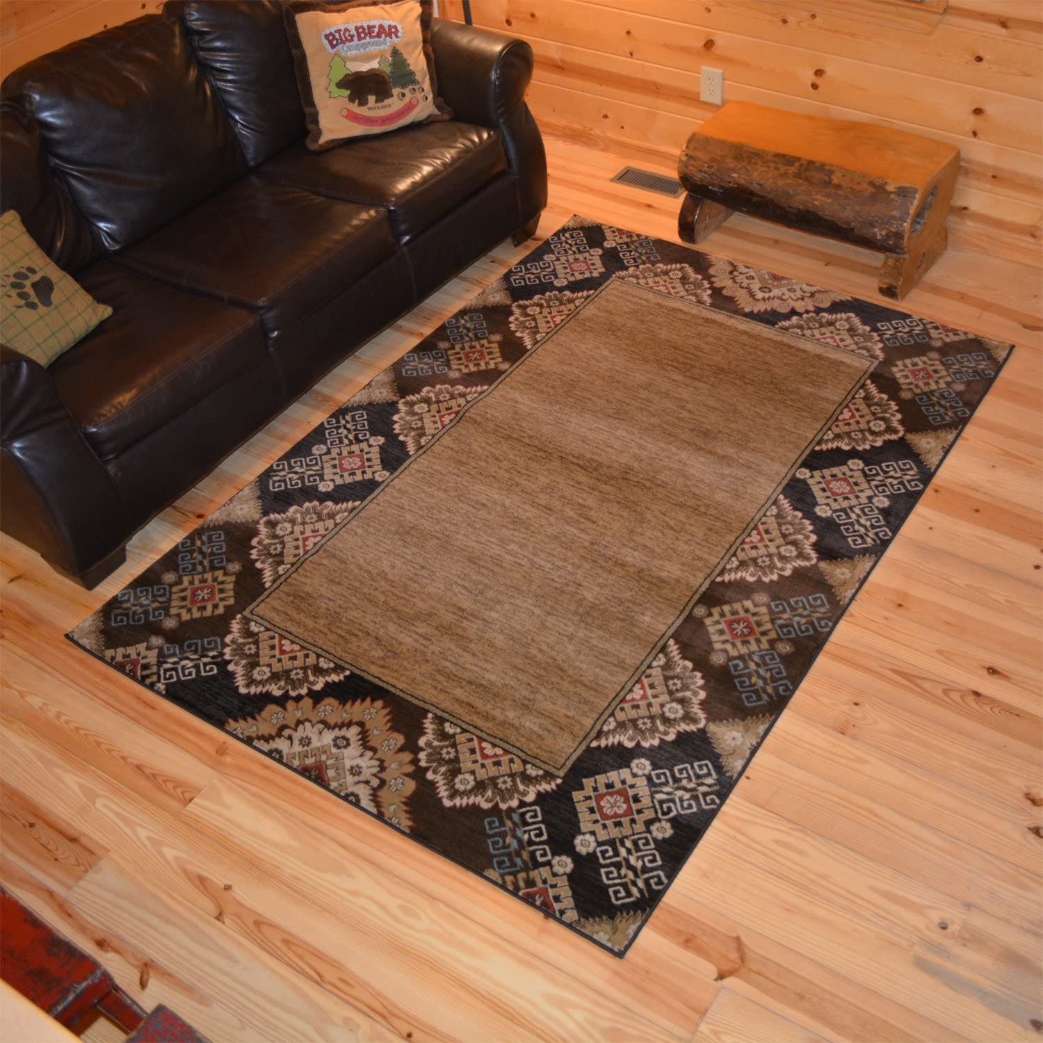 Rustic Lodge Southwest Border 5x8 Max 84% OFF Brown 6923 5'3