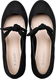 Women's Wide Width Flat Shoes - Comfortable Classic Pointy Toe Slip On Bow Elastic Band Ballet Flat.