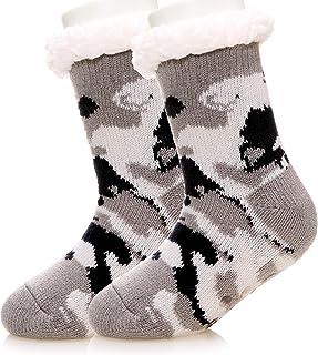 Kids Boy Girl Slipper Socks Soft Fuzzy Warm Heavy Thick Fleece lined Christmas Stockings Child Toddler Winter Cozy Socks
