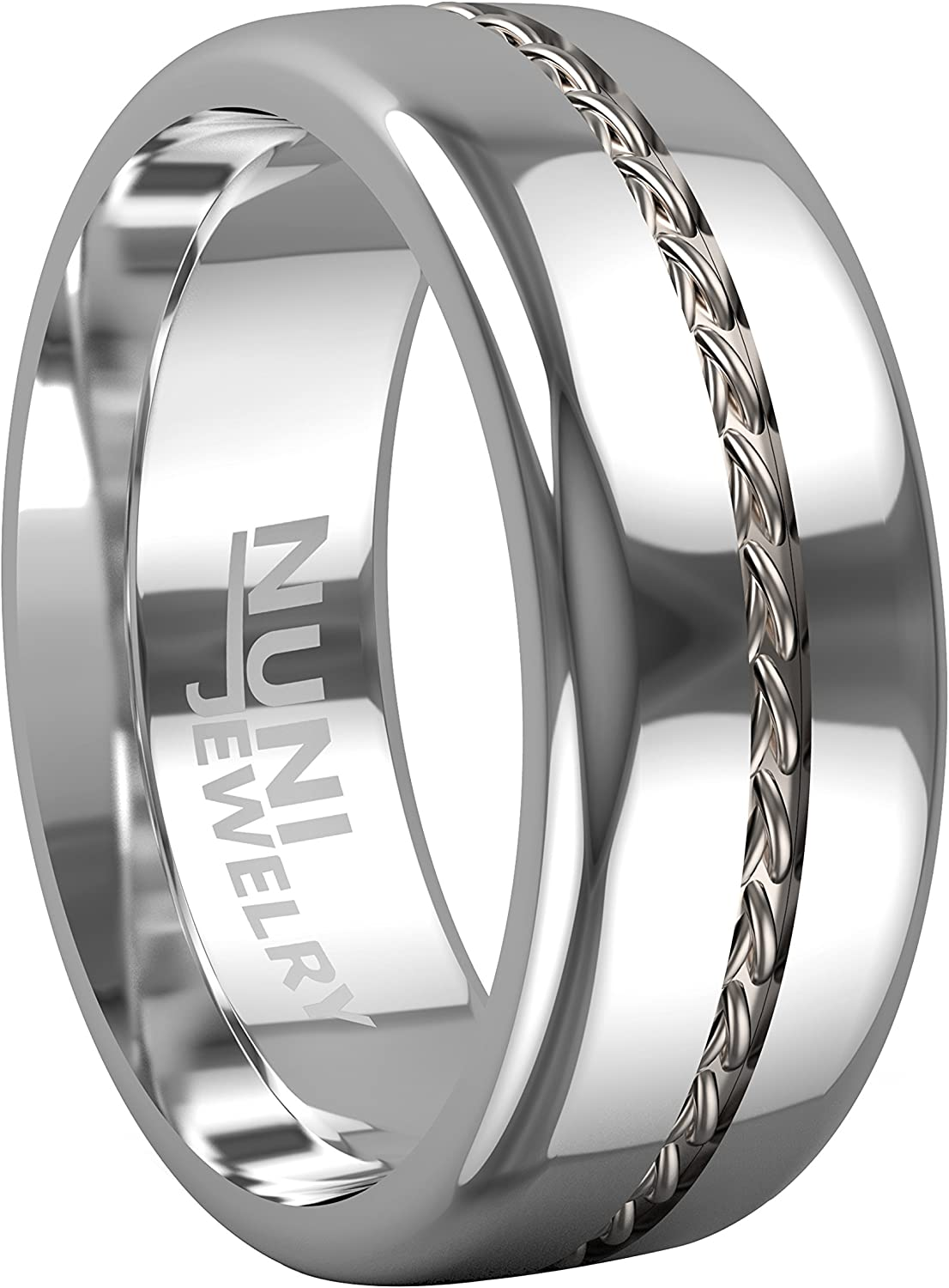 Nuni Today's only Jewelry Tungsten Ring Max 61% OFF Elegant Wedding with Silver Band Cabl