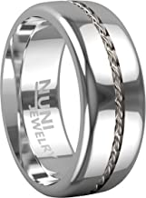 Nuni Jewelry Tungsten Ring Elegant Wedding Band with Silver Cable Inlay Design–Tungsten Carbide 8mm Wedding Band for Men and Women–Comes in A Protective Velvet Pouch