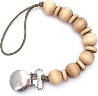 Natural Wood Beaded Pacifier Holder Clip Attachment for Newborn Baby Girl or Boy, Mini Cleo