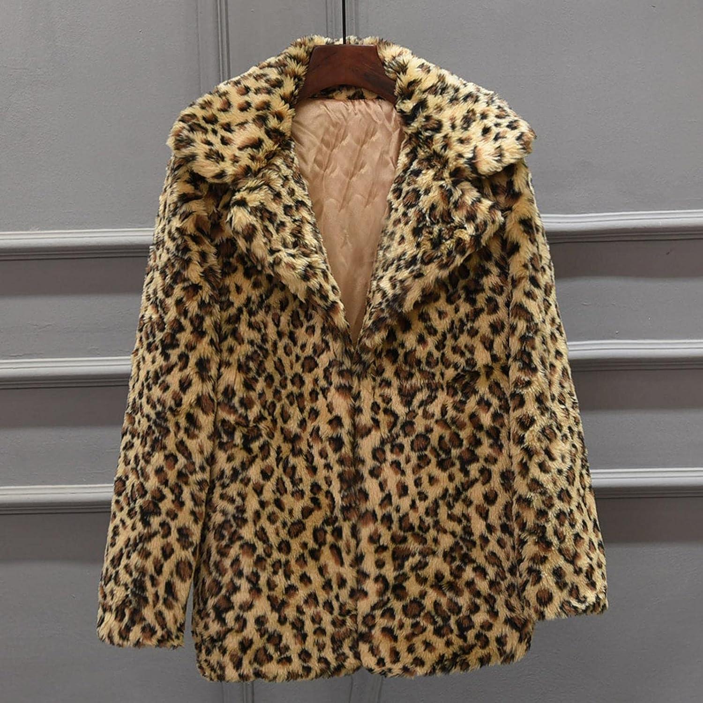 Blouse for Womens Coat Winter Leopard Print Long Sleeves Lapel Sweatershirt Fashion Faux Fur Coat Warm Top Sweater