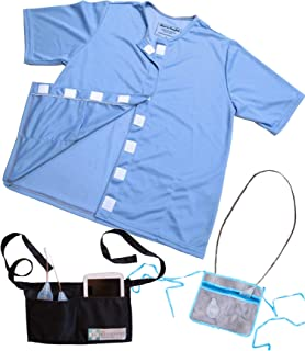 Mastectomy Breast Cancer Recovery Shirt & Drain Pouch Bundle,Blue,Large