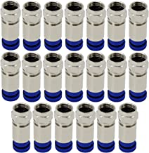ESUMIC RG6 F Type Connector Coax Coaxial Compression Fitting 20Pack (DBLUE-BW)