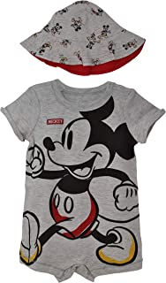Mickey Mouse Baby Boys One-Piece Romper & Sunhat Set