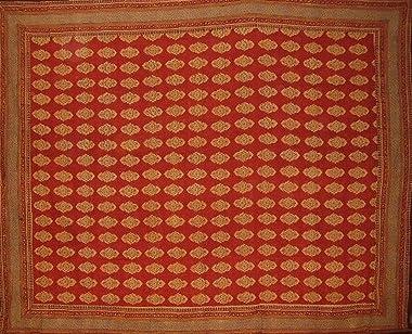 """Homestead Kensington Block Print Reversible Duvet Cover Cotton 106"""" x 96"""" Fits Queen-King Multi Color"""