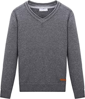 CUNYI Little Boys V-Neck Pullover Cotton Knit Sweater