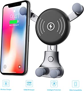 Wireless Car Charger, Air Vent Phone Holder, Fast Charging Car Mount, 10WCompatibleforSamsungGalaxyS9/S9+/S8/S8+/S10/S10+/Note8/9,7.5WCompatibleforiPhoneXsMax/Xs/XR/X/8/8Plus - Black