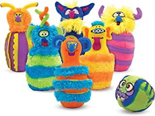 """Melissa & Doug Monster Bowling Game (Plush 6-Pin Bowling Game with Carrying Case, Weighted Bottoms, 7 Pieces, 9"""" H x 8.5"""" W x 7"""" L, Great Gift for Girls and Boys - Best for 2, 3, and 4 Year Olds)"""