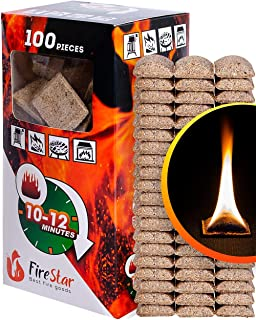 Fire Starter Squares - 100pc Fire Starters for Fireplace and Camping - Charcoal Starter Cubes for Grill - Firestarters for Campfires   Fireplace   fire Pit Burns 10-12 min