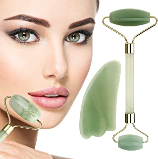 Anti-Aging Jade Roller for Face & Neck + Gua Sha Stone Gift Set – Himalayan Jade Facial Massage Roller Brightens & Evens Skin, Fights Wrinkles – 2 Jade Rollers in 1 for Firmer,Younger Looking Skin