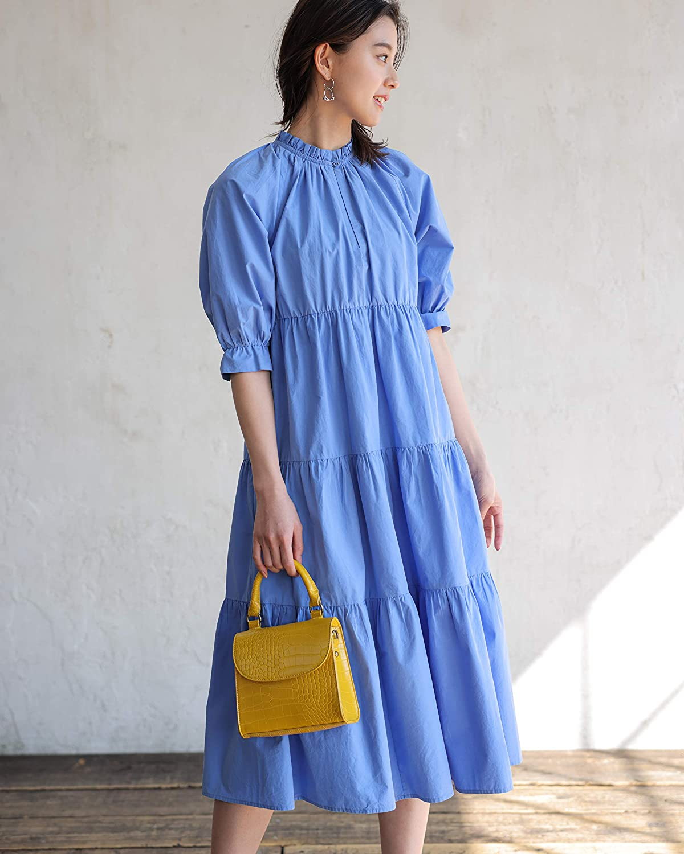 The Drop Women's Cornflower Blue Ruffle-Neck Midi Dress by @asahina_aya