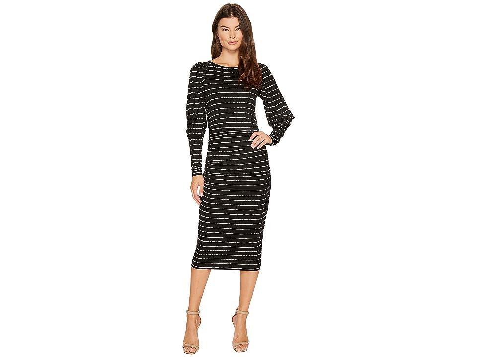 Nicole Miller Elizabetta Dotted Stripes Long Sleeve Jersey Dress (Black/White) Women
