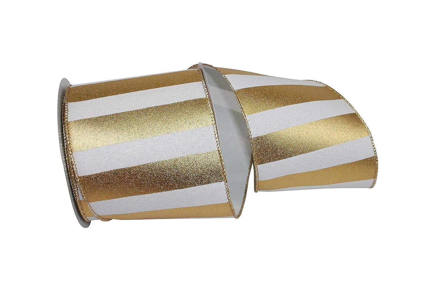 Reliant Ribbon 93166W-980-10F Gold Bar Metallic Linen Wired Edge Ribbon, 4 Inch X 10 Yards, White