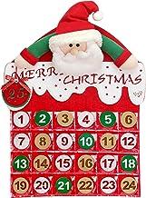 YING LING CRAFTS 2019 Christmas Santa Claus DIY Advent Calendar, 24 Days Pockets and Cute Pattern, Xmas Santa Countdown Ca...