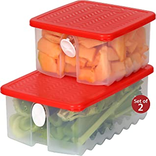 Fresh Fruit and Vegetable Food Keeper Saver Storage Container with Air Vented Lids Produce Keeper Dishwasher, Freezer, Refrigerator-Safe – 100% Food-Safe, BPA-Free Plastic Organizer (Combo)