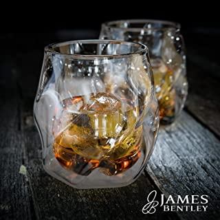 James Bentley(ジェームスベントレー) 【 全米大ヒット 結露しない ウィスキーグラス 】 ウイスキー グラス & 丸い氷 製氷器 各2個ずつ / 二重構造のロックグラス 氷が長持ち [ 日本輸入正規品 ]